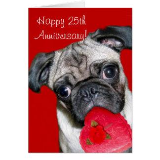 25o cartão feliz do pug do aniversário