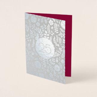 25o Cartões do aniversário de casamento de prata