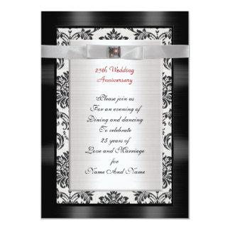 25o Convite da festa de aniversário preto e branco