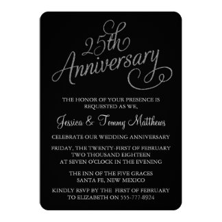 25o Convites do aniversário de casamento de prata