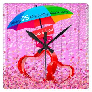 25o Corações do aniversário de casamento com Relógios De Paredes