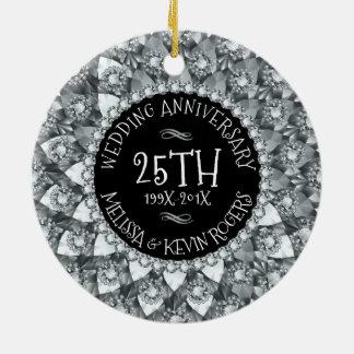 25o Diamantes brancos e preto do aniversário de Ornamento De Cerâmica