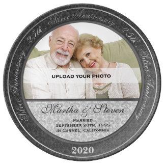 25o Foto do aniversário de casamento de prata Pratos De Porcelana