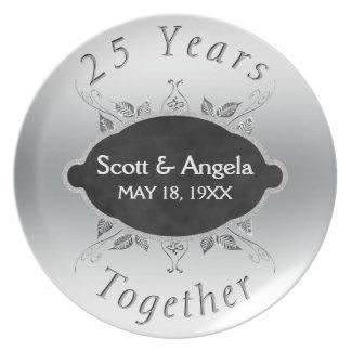 25o Lembrança | do aniversário de casamento 25 Pratos