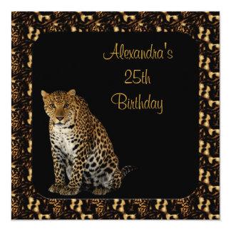 25o Leopardo do aniversário com quadro animal do Convite Quadrado 13.35 X 13.35cm