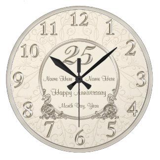 25o O aniversário de casamento cronometra a DATA Relógios De Pendurar