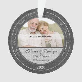25o Ornamento de prata da foto do aniversário |