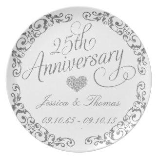 25o Placa decorativa do aniversário de casamento Prato
