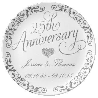 25o Placa decorativa do aniversário de casamento Prato De Porcelana