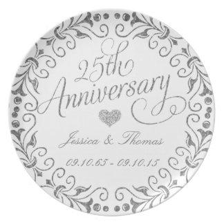 25o Placa decorativa do aniversário de casamento Pratos