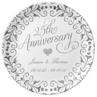 25o Placa decorativa do aniversário de casamento Pratos De Porcelana