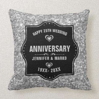 25o Preto do aniversário de casamento e brilho da Almofada
