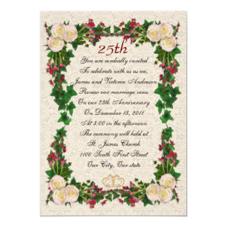25o Renovação do voto do aniversário de casamento Convite 12.7 X 17.78cm