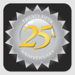 25o Selo de prata do aniversário Adesivo Quadrado