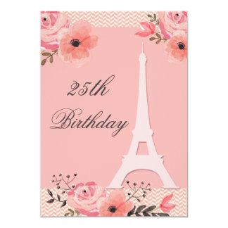 25o Torre Eiffel floral chique de Paris do Convite 12.7 X 17.78cm