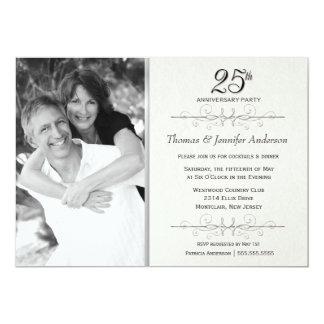 25os convites elegantes da festa de aniversário do convite 12.7 x 17.78cm