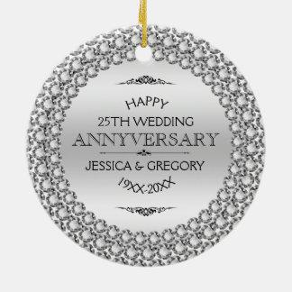 25os diamantes & prata felizes do aniversário de ornamento de cerâmica