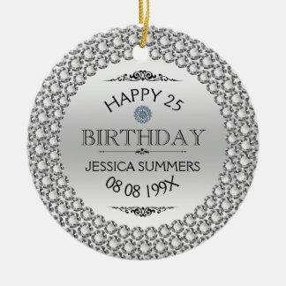 25os diamantes & prata felizes do aniversário ornamento de cerâmica redondo