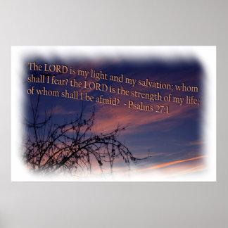 27:1 do salmo na beira do branco do alvorecer poster