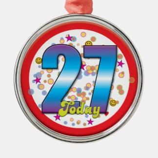 27o Aniversário hoje v2 Ornamento Para Arvores De Natal