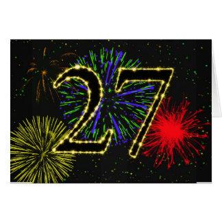 27o Cartão de aniversário com fogos-de-artifício