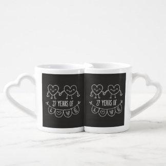 27o Corações do giz do presente do aniversário Conjunto De Caneca De Café