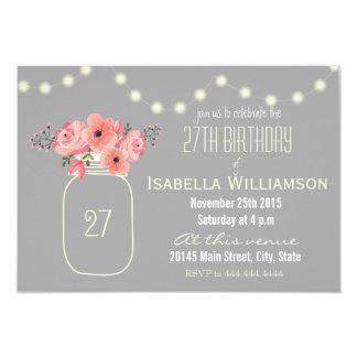 27o Flores da aguarela do aniversário & frasco de Convite 8.89 X 12.7cm