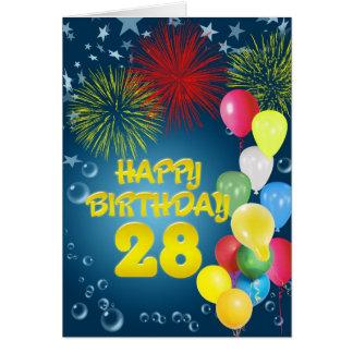 28o Cartão de aniversário com fogos-de-artifício e
