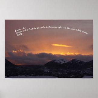 29:2 do salmo com um por do sol poster