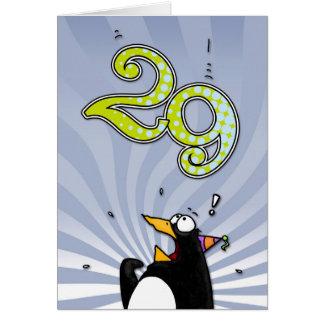 29o aniversário - cartão da surpresa do pinguim