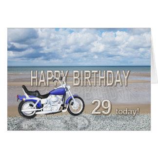 29o cartão de aniversário com uma bicicleta do