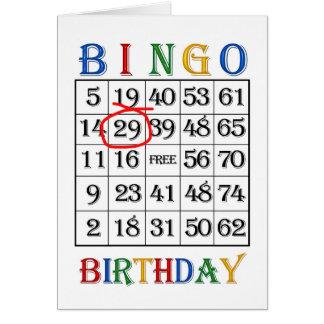 29o Cartão do Bingo do aniversário