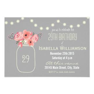 29o Flores da aguarela do aniversário & frasco de Convite 8.89 X 12.7cm
