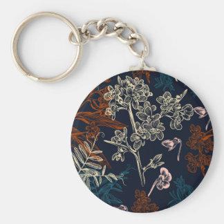 """2,25"""" floral chaveiro básico do botão"""