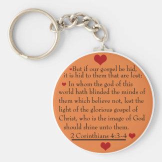 2 4:3 dos Corinthians - corrente chave de 4 evange Chaveiro