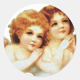 2 anjos pequenos que Praying - etiqueta Adesivo Em Formato Redondo