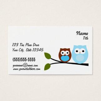 2 cartões de visitas azuis das corujas