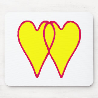 2 corações amarelam junto os presentes de Zazzle d Mouse Pads