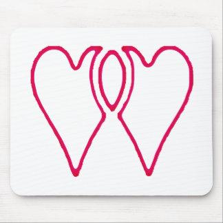 2 corações junto os presentes de Zazzle do MUSEU Mousepad