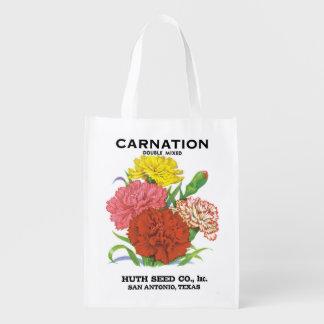 2 cravos diferentes, etiquetas do pacote da sacola ecológica para supermercado