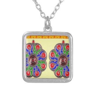 2 decorações do indiano de Ethinic da jóia de Colar Com Pendente Quadrado