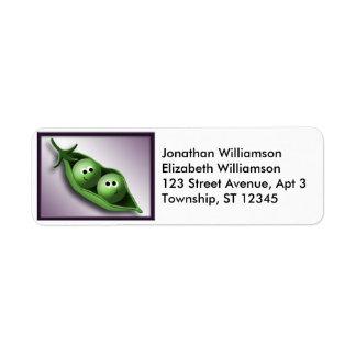 2 ervilhas em etiquetas de endereço do remetente d