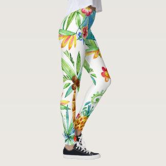 2 exóticos florais tropicais legging