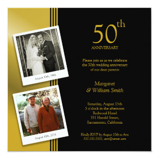 2 festa de aniversário do casamento do ouro 50th convite quadrado 13.35 x 13.35cm
