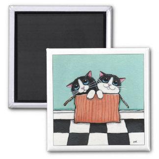 2 gatos do smoking em um ímã da arte do gato da ímã quadrado