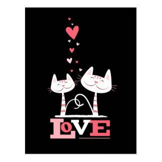2 gatos em cartão temáticos dos namorados do amor