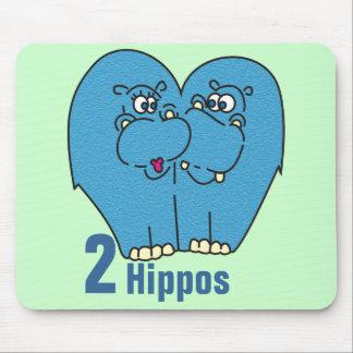 2 hipopótamos no amor Mousepad bonito