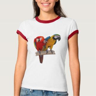 2 papagaios Sleeved por muito tempo a camisa