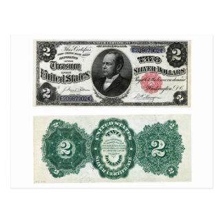 $2 séries 1891 do certificado de prata da cédula cartões postais