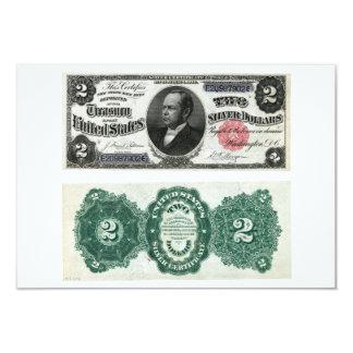 $2 séries 1891 do certificado de prata da cédula convite personalizado